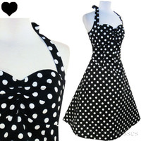 New POLKA DOT 50s Rockabilly HALTER Swing Dress S M L XL XXL 1X Pinup FULL SKIRT
