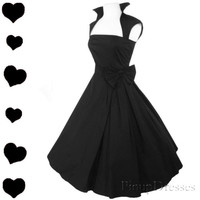 New Black Rockabilly 50s FULL SKIRT Swing Dress S M L XL XXL 1X 2X 3X Plus PARTY
