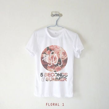 5 Second Of Summer Floral Logo Women's Tshirt / 17 Colors : White Grey Brown Green Blue Pink Purple Yellow / Tumblr Inspired