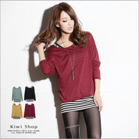 YESSTYLE: Kiwi Shop- Set: Long-Sleeve T-Shirt+Striped Tank Top (Maroon - One Size) - Free International Shipping on orders over $150