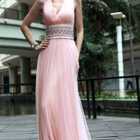 Sheath/Column V-neck Floor-length Tulle Formal Dress With Belt at Msdressy