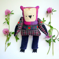 Franny  - Little  owl, soft art  toy  by Wassupbrothers