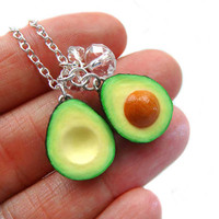 Avocado Necklace - Sliced Avocado with Crystals