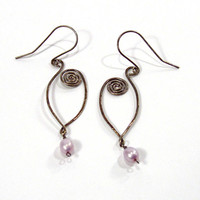 Long Oval Hand Forged Earrings with Spiral Motif, Antiqued Sterling Silver, Lavender Pearl Drop