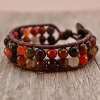 Sparkly colorful beaded leather cuff - Faceted rainbow agate baeded bracelet
