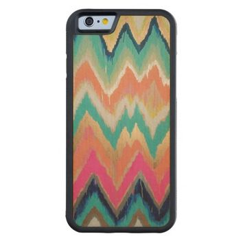 Watercolor Bright Chevron Zig Zag Stripe Pattern Carved Maple iPhone 6 Bumper Case