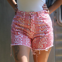 Red Retro Lace Print Shorts