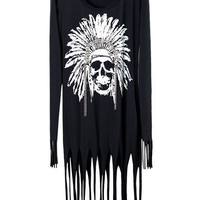 Tassels Head Print Black Shift Dress [NCSKX0391] - $72.99 :