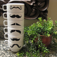 White Mustache Coffee Mugs Set of 6 by olivetreemonograms on Etsy