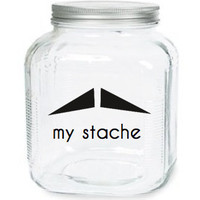 My Stache Jar The Villain Mustache Glass by olivetreemonograms
