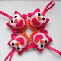 4 Valentine Owls, Adorable Hot Pink.. on Luulla