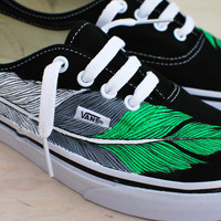 Hand Painted Eagle Feather Vans - White Grey & Green