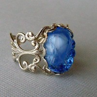 Blue Stone Ring, Glass Nugget Ring, Silver Rings