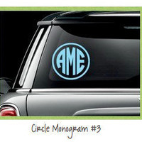Monogram Car Decal Circle 4 in ships FAST by olivetreemonograms