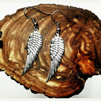 Handmade Small Wing Earrings On Surgical Steel Hooks In Shiny Silver Hypoallergenic