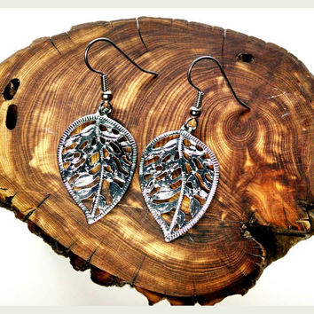 Handmade Leaves Earrings On Surgical Steel Hooks In Shiny Silver Small Cutout Design Hypoallergenic Jewelry RTS