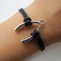 silvery wish bones black Ropes Women Cuff Bracelet Unisex Bracelet Jewelry Cuff Bangle  1311A