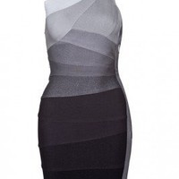 Herve Leger Alexis One-Shoulder Ombre Bandage Dress - Jimmy's New York