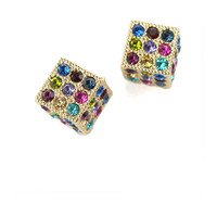Crystal Gold Tone Dice Earrings - Retro, Indie and Unique Fashion