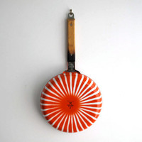 Vintage Enamel Colourware Pan - Mid Century Stripe Cookware, Retro Orange and White, Halloween Orange
