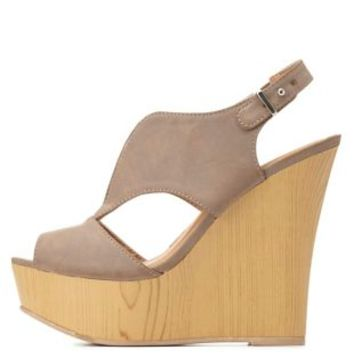 Qupid Slingback Wedge Sandal by Charlotte Russe - Taupe