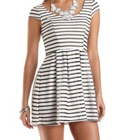 Mesh-Striped Cap Sleeve Skater Dress by Charlotte Russe - White Combo