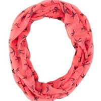 Soaring Bird Infinity Scarf by Charlotte Russe - Coral