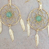 DREAMIN in GOLD and GREEN  Adventurine  Large Dream catcher earrings-1&quot; dreamwebs