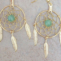 "DREAMIN in GOLD and GREEN  Adventurine  Large Dream catcher earrings-1"" dreamwebs"