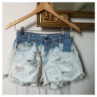 vintage highwaisted denim shorts with ombre bleach