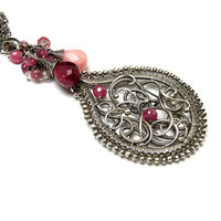 Silver wire wrapped pendant, ruby, pink, romantic