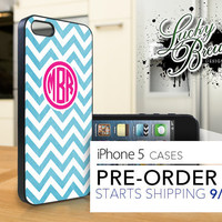 iPhone 5 Hard Case - Personalized Monogram Blue and Pink - Phone Cover PRE-ORDER