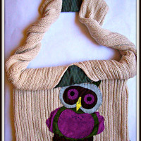 upcycled shoulder bag with felt owl application