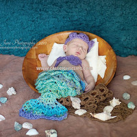 Digital Crochet Pattern- No. 59 Mermaid Princess  - Cuddle Critter Cape Set  (includes - shells and tiara)