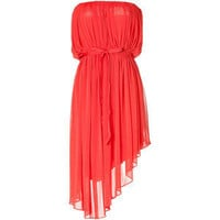 HALSTON Bright Coral Strapless Belted Dress - Polyvore