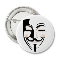 Guy Fawkes Anonymous Mask Pin from Zazzle.com