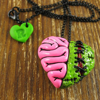 Zombie Heart Locket Necklace by rapscalliondesign on Etsy