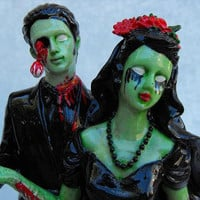 Zombie Couple Day of the Dead Style Wedding Cake by dnacreations