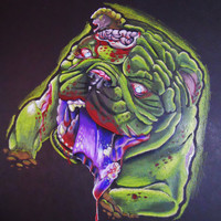ZOMBIE Custom Pet Portrait in Full Color by StrayThreadPets