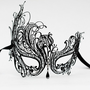Luxury Black Metal Filigree Masquerade Ball Mask with Diamante Crystals