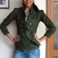 Ruffled Jacket Blazer with Fitted Princess Seams by IslaNewYork