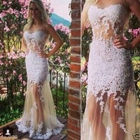 Tulle White Applique Mermaid Evening Dress Floor Length Prom Gown Women Dress