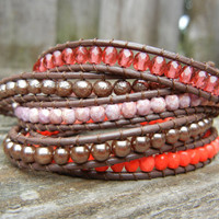 Beaded Leather 5 Wrap Bracelet with Pink and Rose Gold Tone Czech Glass Beads on Brown Leather