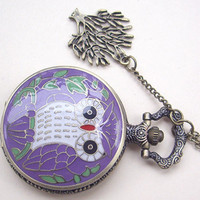 owl and tree Cloisonne flower pattern Pocket watch Locket Necklace