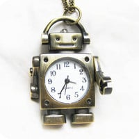 robot pocket watch with the arms can move,with his coffee cup