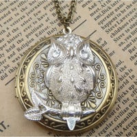 Steampunk Owl (51701)  Locket Necklace Vintage Style Original Design