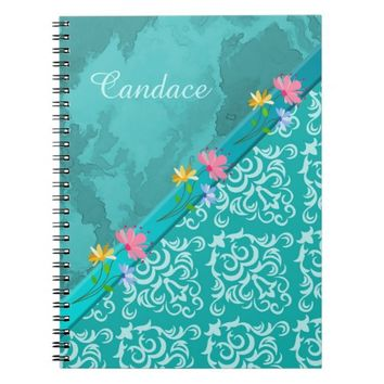 Girly Teal Damask Floral Journal Notebook