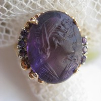 10K Carved Amethyst Cameo Ring