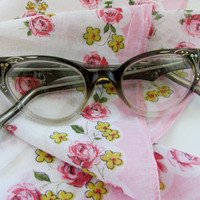 Vintage eyeglasses France Qualite rhinestone cats eye mid century eyeware