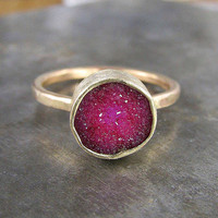 Little Raspberry Druzy and Recycled 14k Gold by ChristineMighion